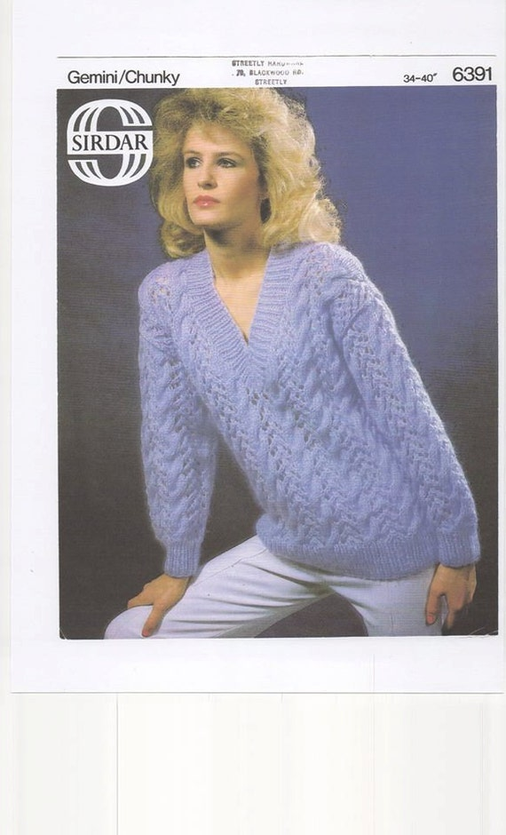Knitting Pattern Ladies V Neck Jumper : Ladies Sweater Womens SweaterV Neck Sweater Knitting