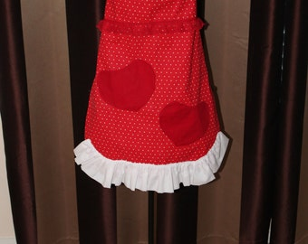Flirty Baking Apron - Red and White Polka Dot with Two Heart Shaped Pockets