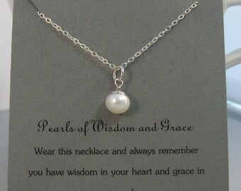 Pearls of Wisdom and Grace,Pearl Necklace,White Pearl,Inspiration,White Necklace,Pearls,Pearl Jewelry,Friendship,Friend,Best Friend .wisdom