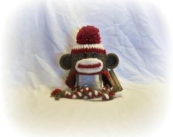 Crochet Sock Monkey Hat, Newborn to Adult