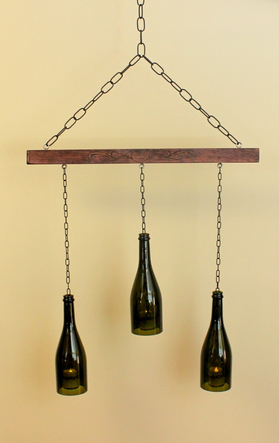 Wine bottle chandelier candle lantern with by gracefulthingsdecor - Wine bottles chandelier ...