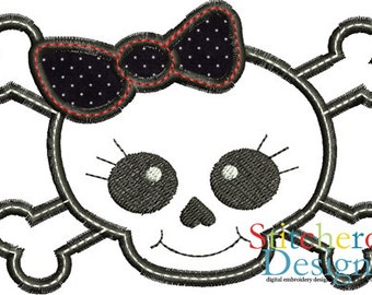 Lil Angel Skull Design -In Hoop sizes  4x4, 5x7, 9x9- Instant Download - for Embroidery Machines