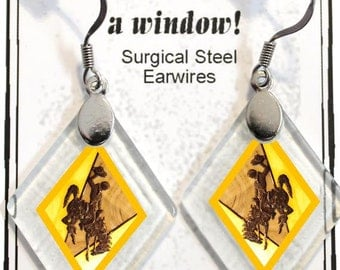 "Earrings ""Wyoming Bucking Horse & Rider(TM) in Gold"" from rescued, repurposed window glass~Licensed Product"