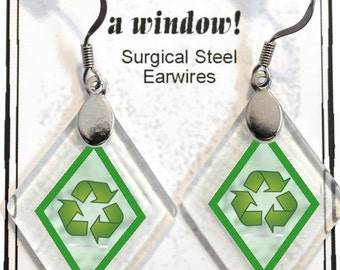 "Earrings ""Recycle"" from rescued, repurposed window glass~Lightening landfills one tiny glass diamond at a time!"