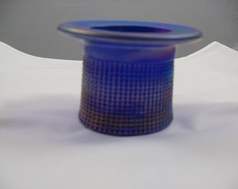 Top Hat   Toothpick Holder IMPERIAL GLASS CO. iridescent blue carnival glass