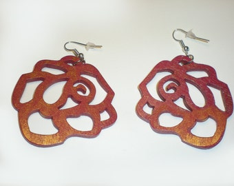 Ombre Rose Wood Earrings Burgundy Gold Metallic Rose Filigre by EnigmaChic