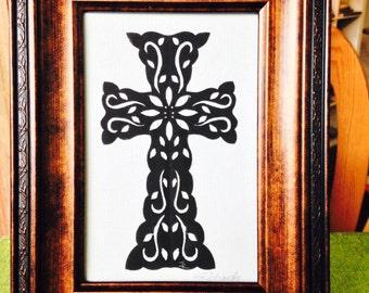 """Poinsettia Cross, ORIGINAL ART Handmade Paper Cutting, Scherenschnitte, fits 5x7"""" frame"""