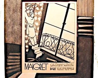 "Vintage French Print ""Maigret"" w/Artisinal Custom Frame"