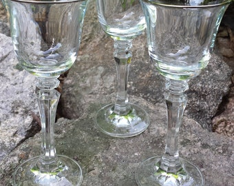 Vintage Glass Stemware with Silver Trim - Set of 2