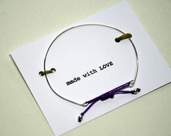 Bracelet in silver 925 with purple jade's thread