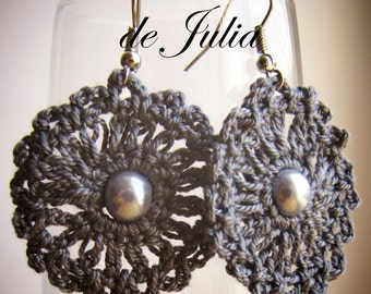 "Earrings ""Azhur"". Crochet. Threads of 100% cotton. Decorated with beads."