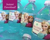 Disney Frozen Water Bottle Labels - Printable - INSTANT DOWNLOAD - Frozen Party Decorations - Disney Princess
