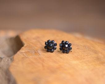 Vintage CORO Black Faceted Cluster Screw On Earrings