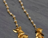 Fresh water Pearls and Gold leaves necklace