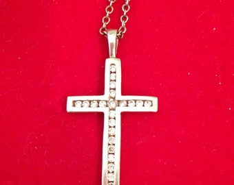 Vintage Diamond 10k Gold Cross Necklace