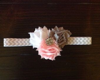 Shabby rosette headband - Chevron triple mini rosettes