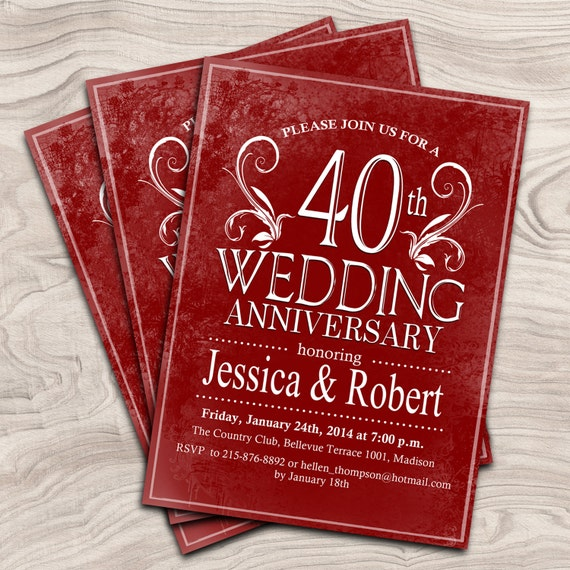 40th wedding anniversary digital printable invitation for 40th wedding anniversary invitations