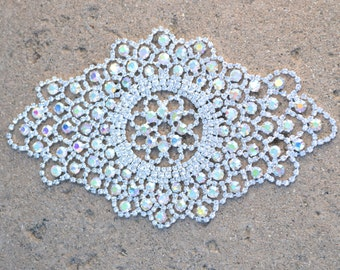 Illa's Rhinestone Applique. Bridal Sash. Wedding Sash. Almond Shaped Iridescent Rhinestones. Metal Backing. 1920's-esque Style and Flair