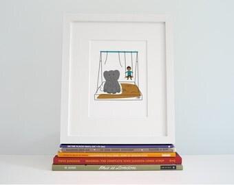 Elephant Children's Illustration - Animal Kids Room Decor - Kids nursery wall art - Children's Art - Prints for Kids - Elephant Art
