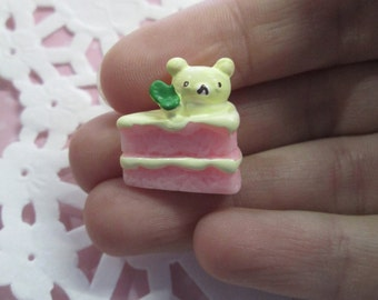 Miniature Pink Layer Cake Cabochons, Decoden Dessert Cabs With a Bear on Top, #141a
