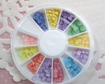 Assorted Polymer Clay bow Slices, Nail Art Wheel, Over 120 pieces