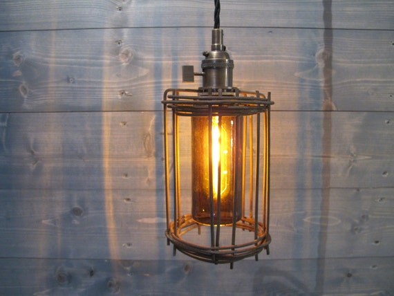 Rusted cage with brown beer bottle ceiling light repurposed - Beer bottle light fixture ...