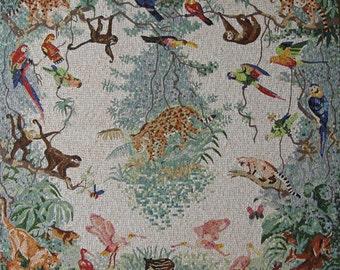 mosaik tiere des amazonas dschungel keramik steinchen groformatig bunt handgemacht papageien affen leopardentucan flamingos wildnis - Fantastisch Mosaik Flie