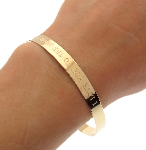 Inspirational Cuff Bracelet Personalized Gold Bangle Cuff