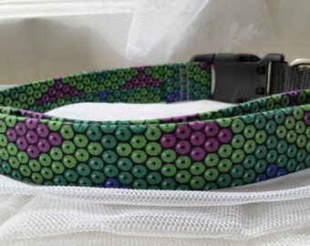 """Green, Purple, Blue """"Snake Skin"""" -- Neck Band Chameleon Collar -- Part 2 of 2"""