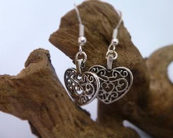 Pretty Silver Heart Earrings, Silver Earrings