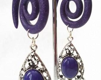 Purple Glitter 4 Gauge dangle earrings