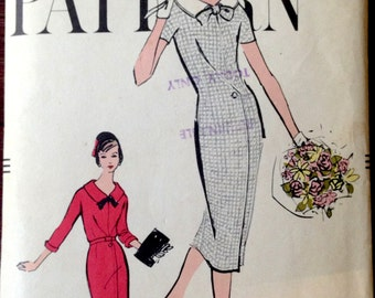Vogue 9501 - 1950s  Wiggle Dress with Stand Away Collar and Front Pleat Detail- Size 16 Bust 36