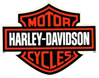 """Vintage 1990's Genuine HARLEY DAVIDSON Licensed Bar and Shield ~ Stick Most Anywhere ~ 7-1/4"""" x 5-3/4"""" Decal Sticker ~ Made in the USA!"""