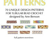 Seventy instant download patterns for tubular bead crochet, w/charts, graphics, full counts, sizing/finishing, link to free video tutorial