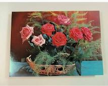 Vintage Soviet Flower Card,Soviet Vintage Postcards,Blank Postcards,Floral Postcard,Rose Bouquet Card,Red and Pink Roses, Roses In  A Basket