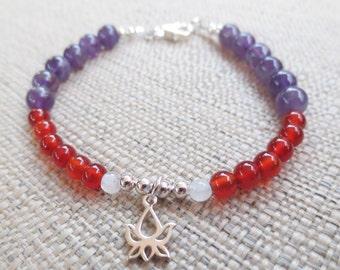 The Fertile LOTUS Fertility Bracelet in Sterling SIlver, Red Carnelian, Amethyst and Moonstone