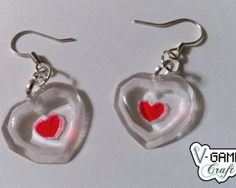 Piece of Heart earrings based on The Legend of Zelda