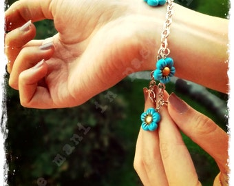 Polymer Clay multi-charm Bracelets with golden nuances - Limited edition