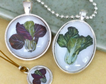 Red or Green Bok Choy Pendants
