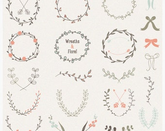 Hand Drawn Laurels Wreaths Vector Collection