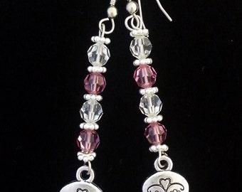 Silver Sugar Skull and swarovski crystal dangle earrings
