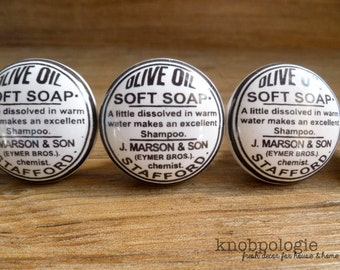 "1.5"" White and Black Olive Oil Soft Soap Vintage Label Bathroom or Kitchen Knob - Decorative Apothecary Ceramic Knobs"
