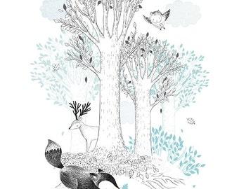 Forest Tales-Happy Animals-Fox-Hedgehog-Owl-Deer-Powder Blue-Whimsical