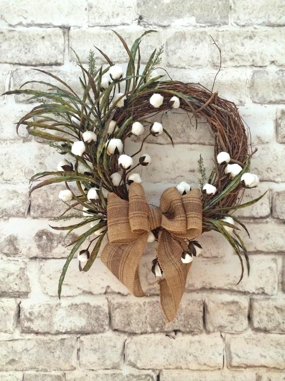 Cotton Boll Wreath Summer Wreath For Door Front Door Wreath