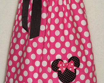 Minnie Mouse Pillowcase Dress / Pink Dots + Bk Micro Dots / Birthday / Disney / Girl / Infant / Baby / Toddler / Custom Boutique Clothing