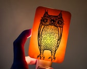 Owl Nightlight made of Fused Glass in Orange - Happy Owl - night light - Halloween colors Fall trends orange black