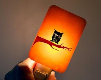 Owl Night Light on Pumpkin Orange Fused Glass - Kids Nightlight with Night-owl - Halloween Decor Orange and black