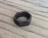 Titanium Ring - Distressed Hexagonal Ring - Wedding Ring - Men's Ring - Women's Ring - Handmade Ring - Engraved Ring - Hardware Ring