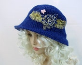 Cloche hat, crochet hat, hat for women,wide brim womens hat, couture hat, dressy hat, blue hat, cloche couture hat, millinery, statement hat