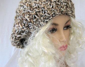 Knit hat, warm winter hat, slouch hat, beanie, hat for momen, womens hat, winter hat, wool hat, brown hat
